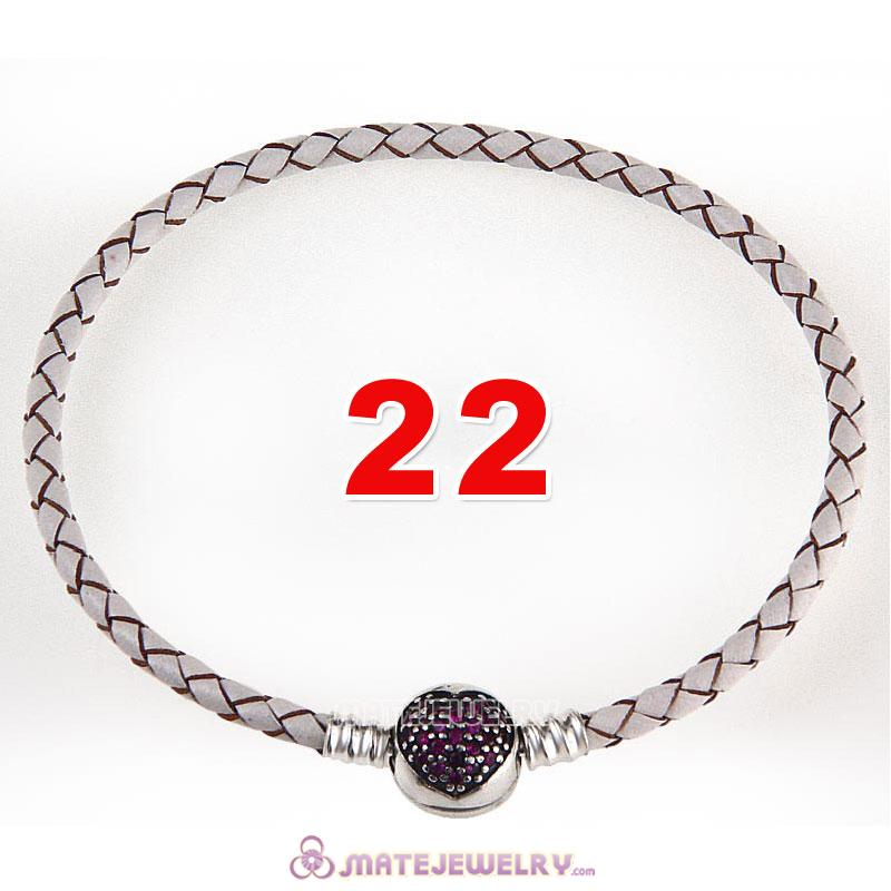 22cm White Braided Leather Bracelet 925 Silver Love of My Life Round Clip with Heart Red CZ Stone