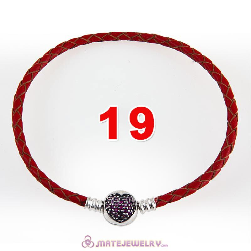 19cm Red Braided Leather Bracelet 925 Silver Love of My Life Round Clip with Heart Red CZ Stone