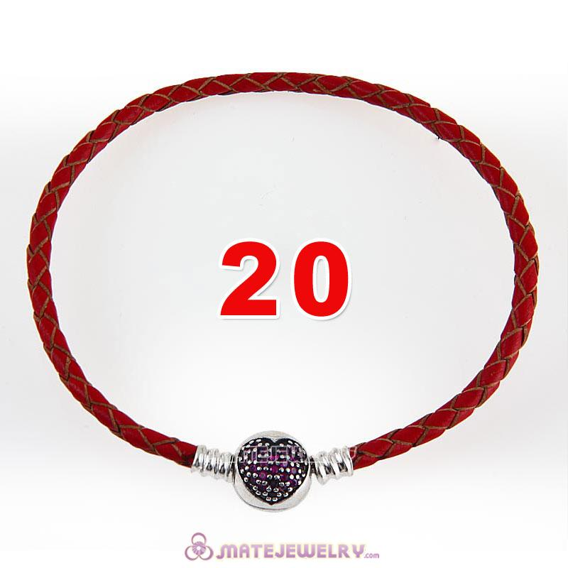 20cm Red Braided Leather Bracelet 925 Silver Love of My Life Round Clip with Heart Red CZ Stone