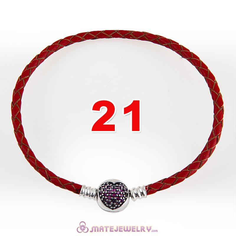 21cm Red Braided Leather Bracelet 925 Silver Love of My Life Round Clip with Heart Red CZ Stone
