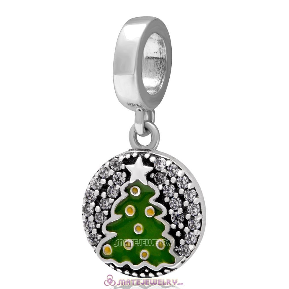 Christmas Tree Dangle Charm 925 Sterling Silver with Zircon Stone