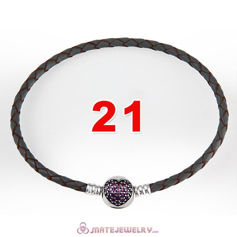 21cm Gray Braided Leather Bracelet 925 Silver Love of My Life Round Clip with Heart Red CZ Stone