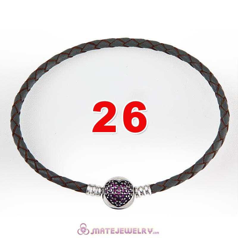 26cm Gray Braided Leather Bracelet 925 Silver Love of My Life Round Clip with Heart Red CZ Stone