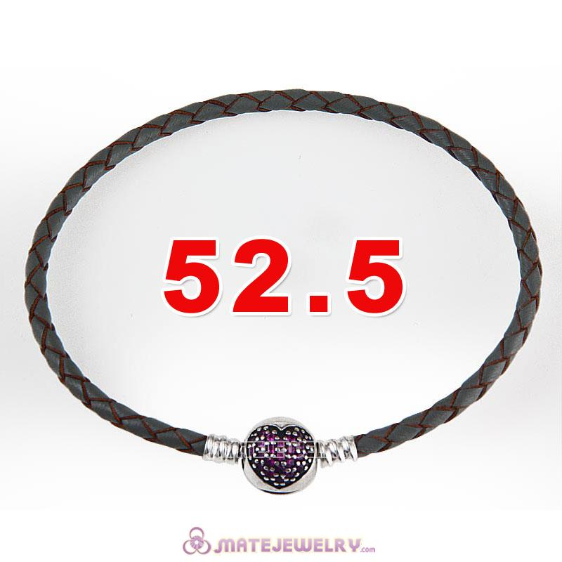 52.5cm Gray Braided Leather Triple Bracelet Silver Love of My Life Clip with Heart Red CZ Stone