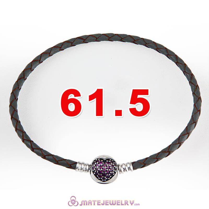 61.5cm Gray Braided Leather Triple Bracelet Silver Love of My Life Clip with Heart Red CZ Stone