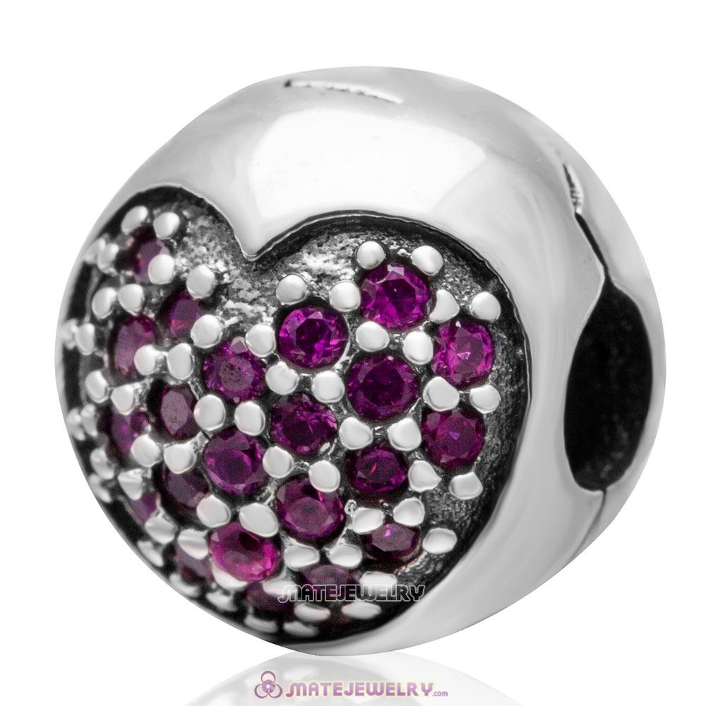 Handmade 925 Sterling Silver Love Of My Life Clip Charm Beads with Fuchsia CZ Stone