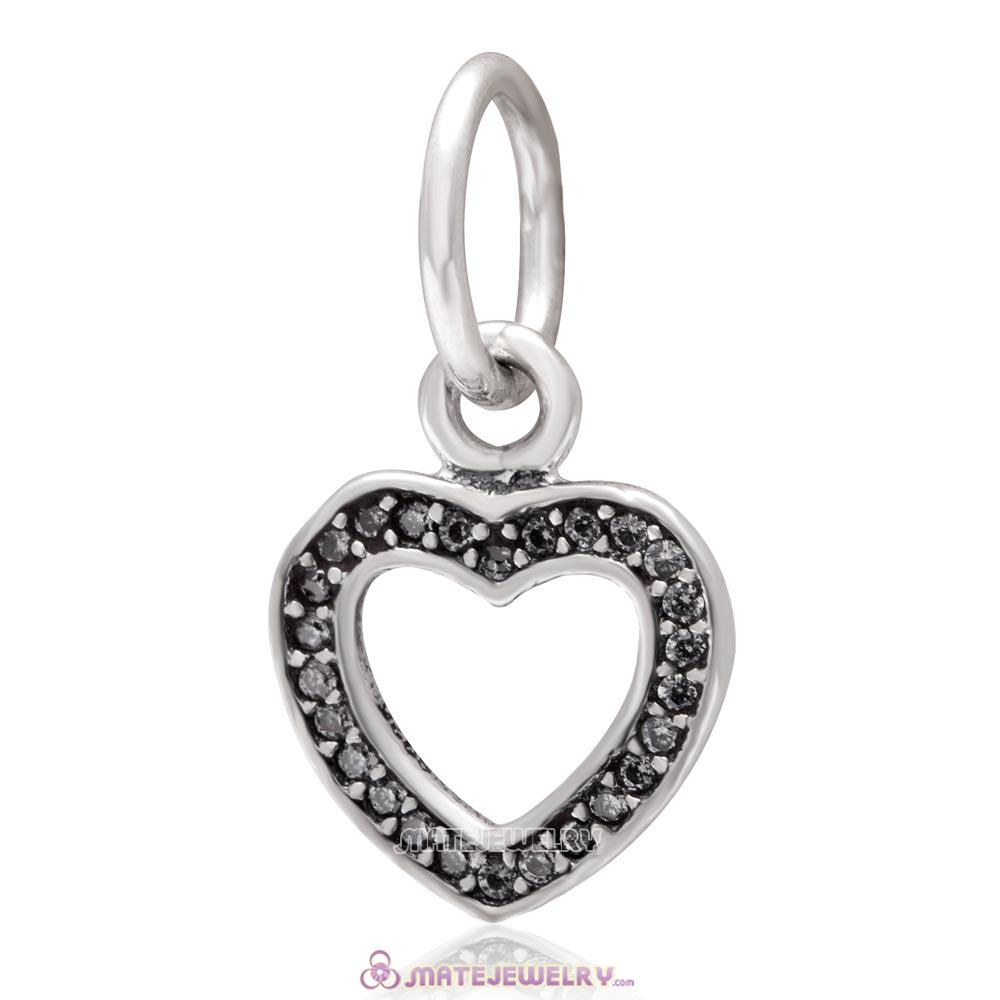Heart Love Dangle 925 Sterling Silver with Clear Zircon Stone Charm