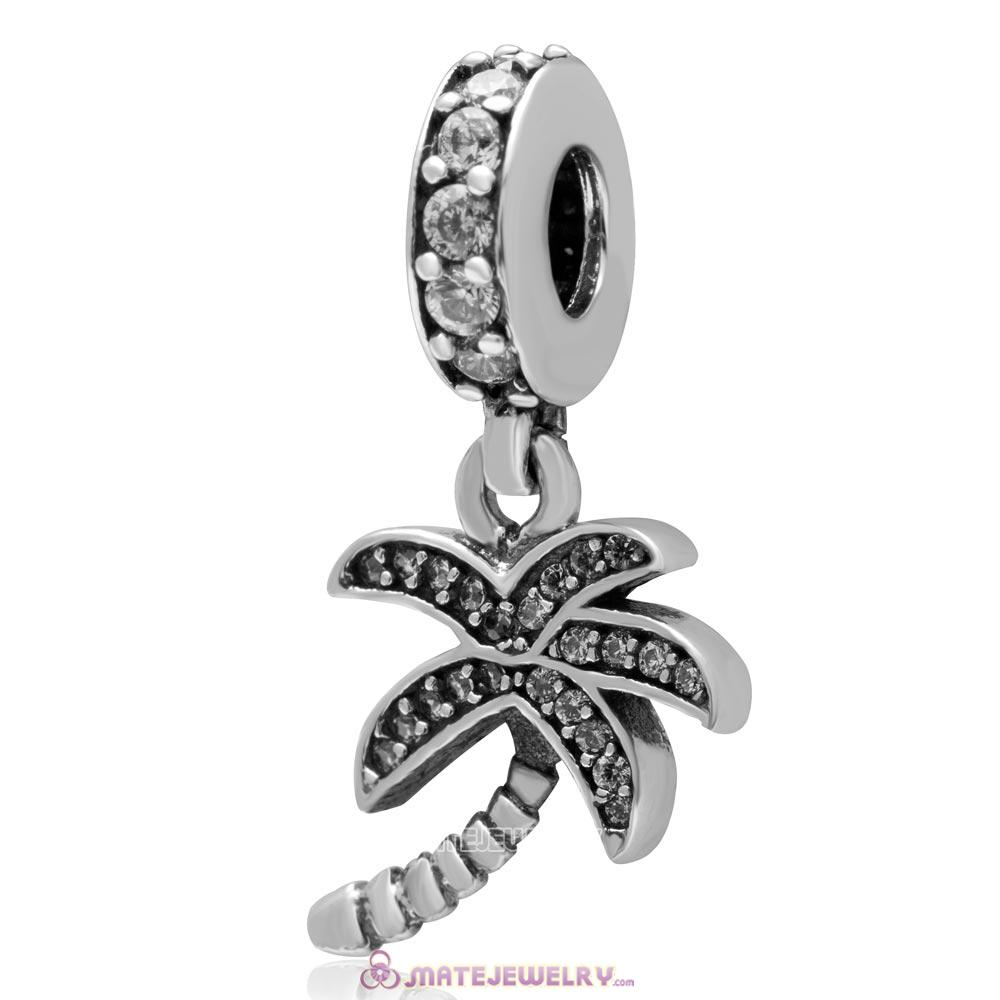Dangle Coconut Tree 925 Sterling Silver with Clear Zircon Stone Charm