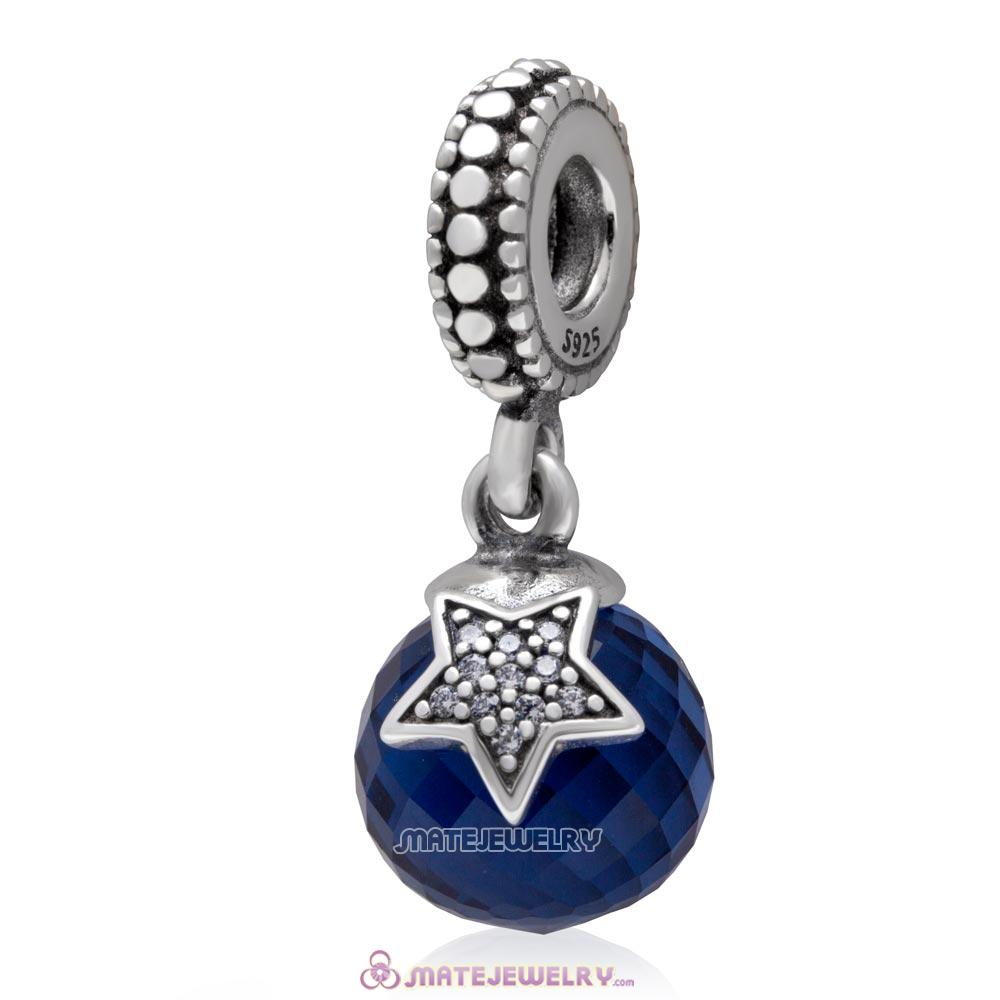 Moon and Star with Midnight Blue and Clear CZ Dangle 925 Sterling Silver Charm