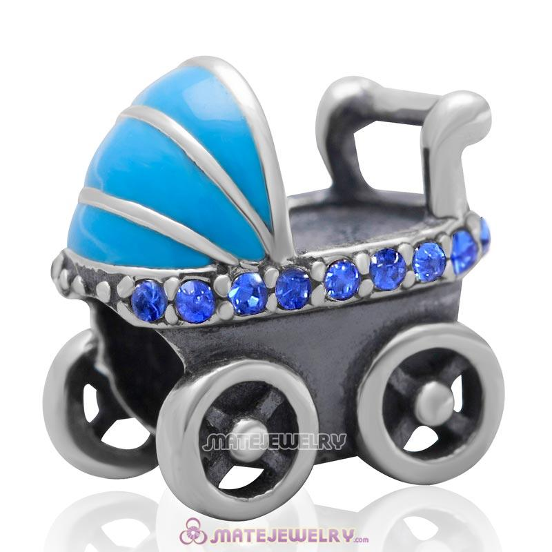 Baby Carriage Charm 925 Sterling Silver Bead with Sapphire Australian Crystal