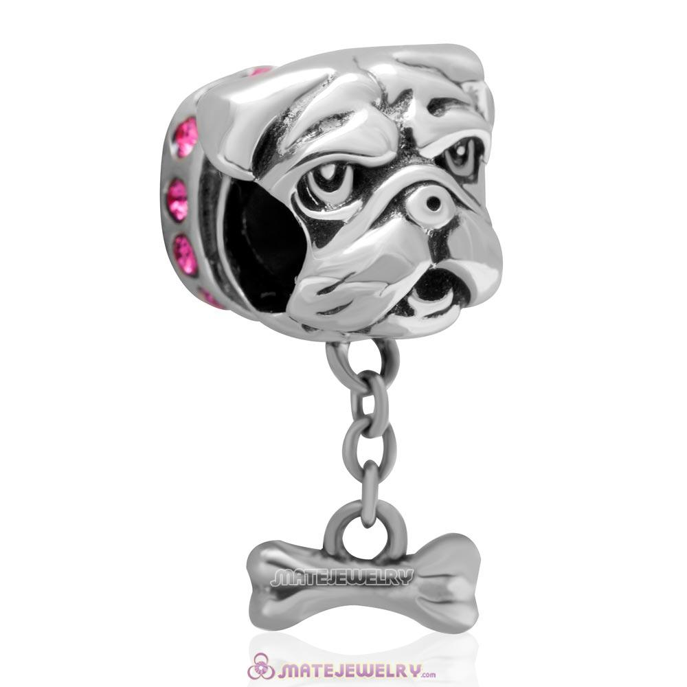Cute Shar-Pei Charm 925 Sterling Silver with Rose Australian Crystal
