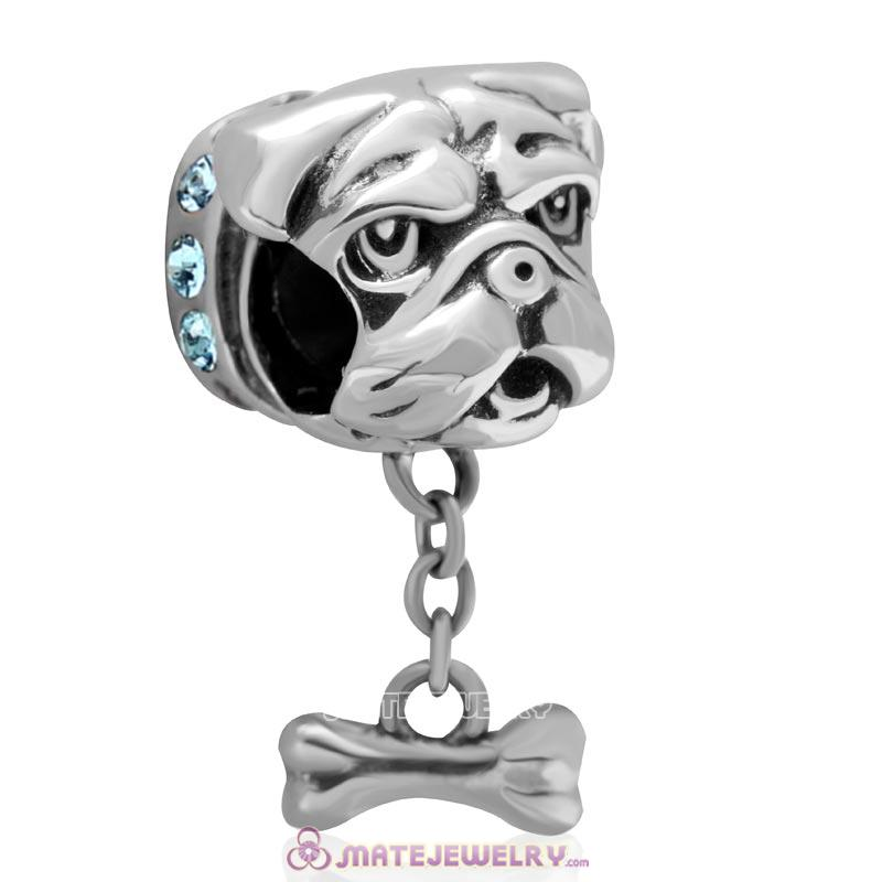 Cute Shar-Pei Charm 925 Sterling Silver with Aquamarine Australian Crystal
