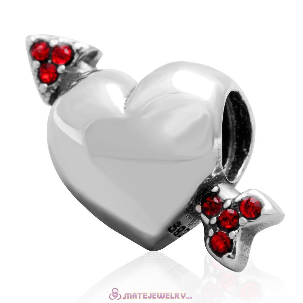Heart Arrow of Cupid Love 925 Sterling Silver Bead with Lt Siam Australian Crystal