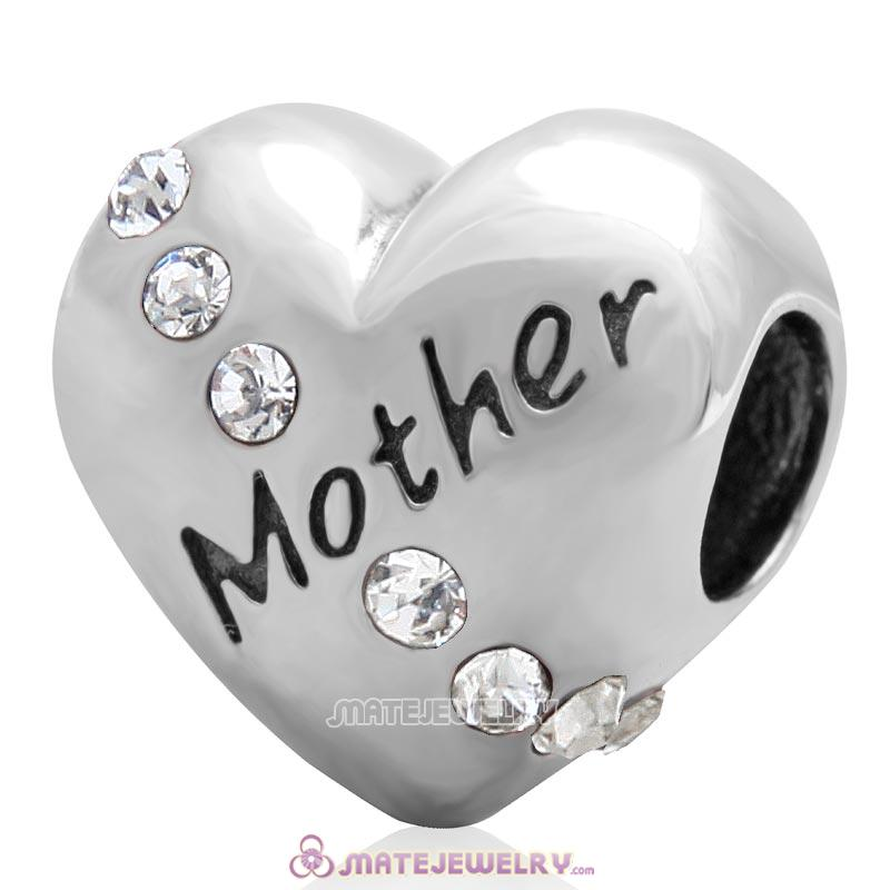 Clear Crystal Mother Heart Love Bead 925 Sterling Silver