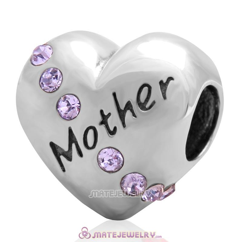 Violet Crystal Mother Heart Love Bead 925 Sterling Silver
