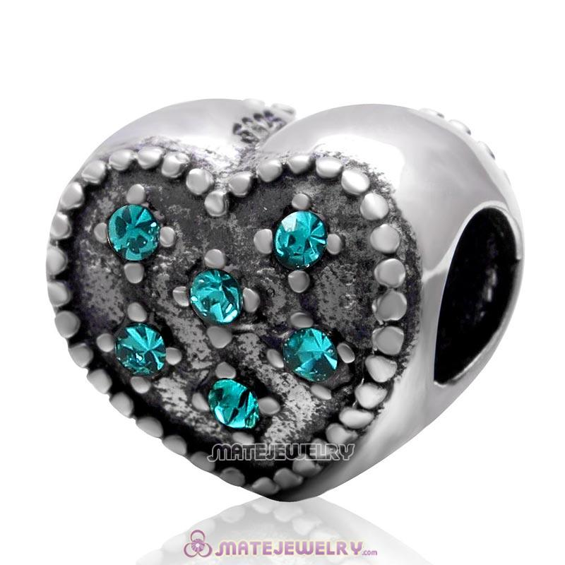 925 Sterling Silver Charm Sparkly Blue Zircon Crystal Heart Bead
