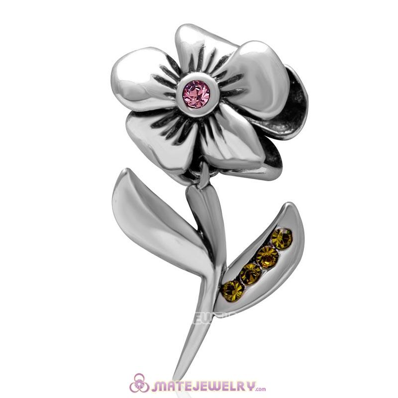 925 Sterling Silver Hibiscus Flower Lt Rose Crystal Charms