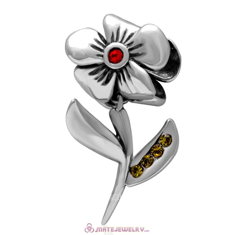 925 Sterling Silver Hibiscus Flower Lt Siam Crystal Charms