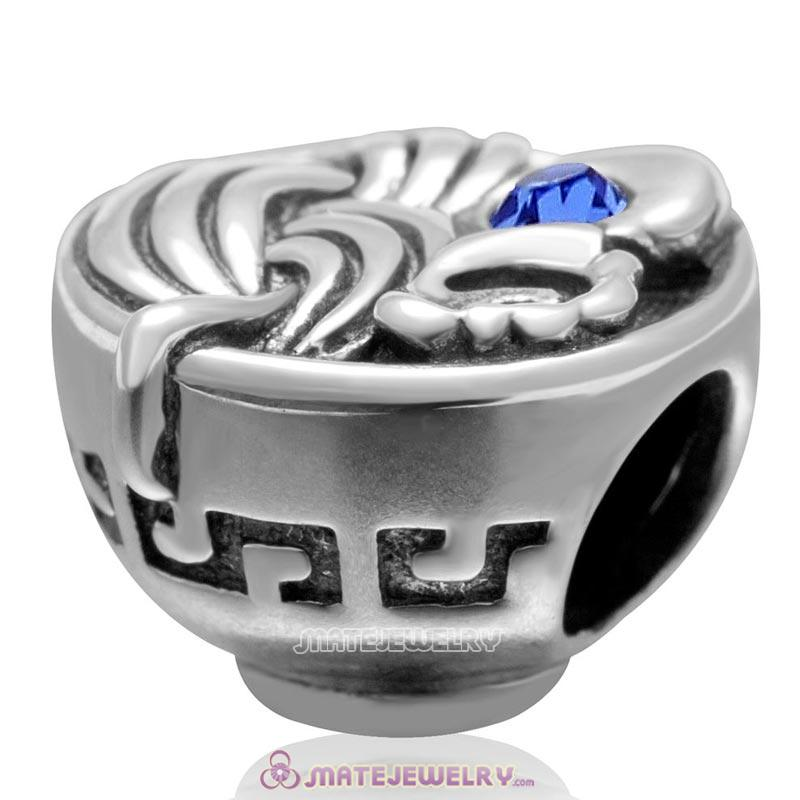 Bowl of Birthday Noodles 925 Sterling Silver with Sapphire Crystal Egg Charm