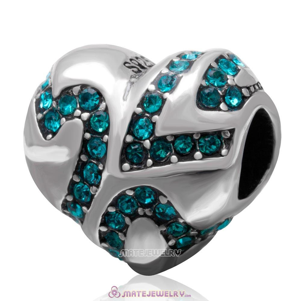 European Style Sterling Silver Valentines Heart Bead with Blue Zircon Crystal