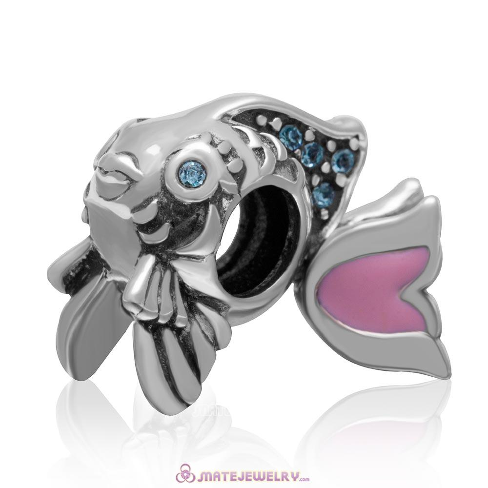 Pink Movable Tail Cute Fish Charm with Aquamarine Crystal in 925 Sterling Silver