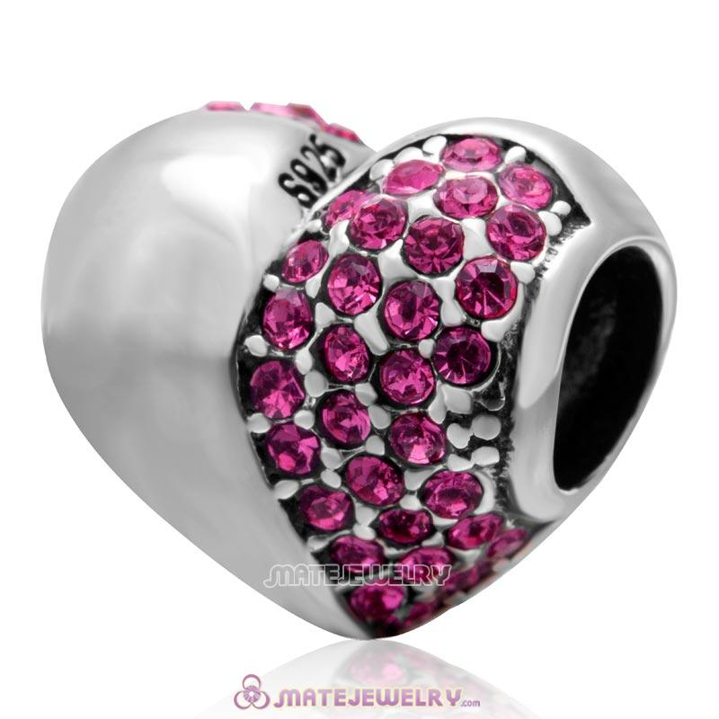 Rose Sparkly Crystal 925 Sterling Silver Heart Bead