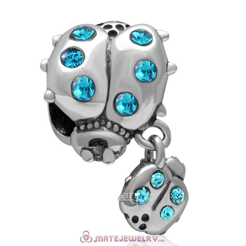 Ladybug with Dangling Smaller Ladybug Blue Zircon Crystal 925 Sterling Silver Charm