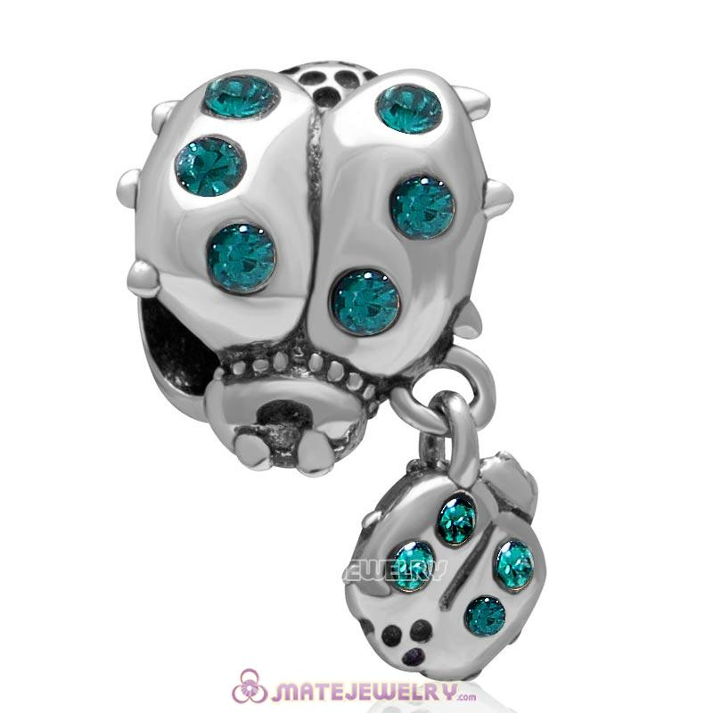 Ladybug with Dangling Smaller Ladybug Emerald Crystal 925 Sterling Silver Charm