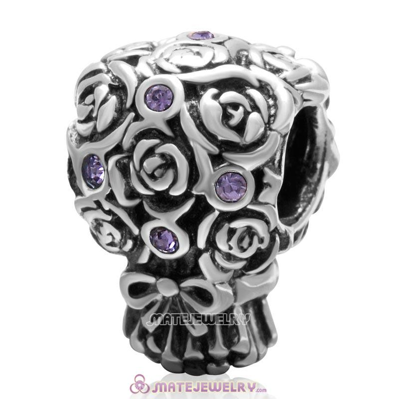 Wedding Bouquet 925 Sterling Silver with Tanzanite Crystal Charm