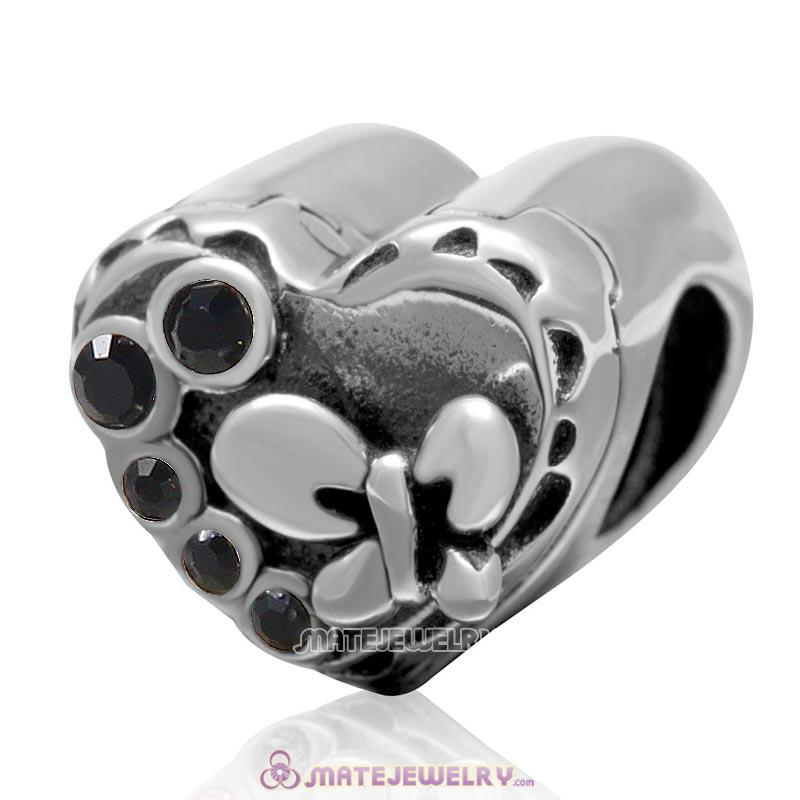 Butterfly Charm 925 Sterling Silver with Jet Crystal Love Heart Bead