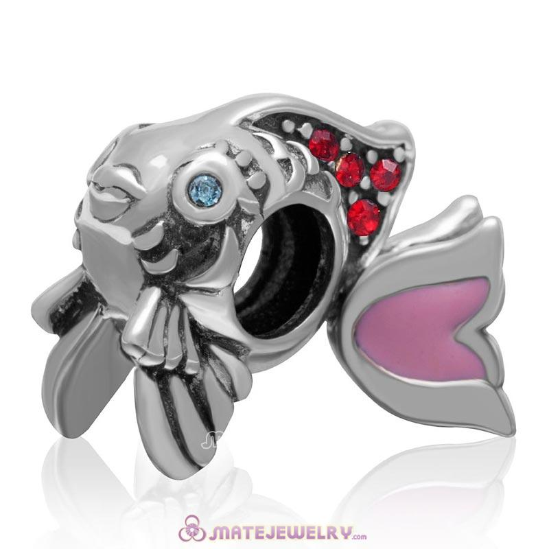 Pink Movable Tail Cute Fish Charm with Lt Siam Crystal in 925 Sterling Silver