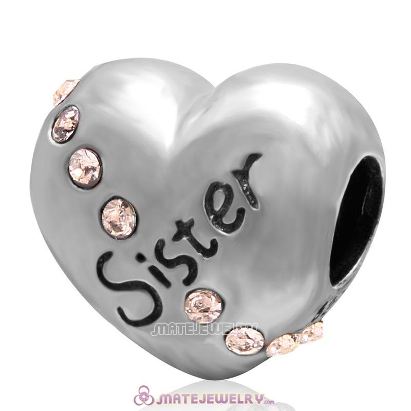 Lt Peach Crystal Sister 925 Sterling Silver Love Heart Bead