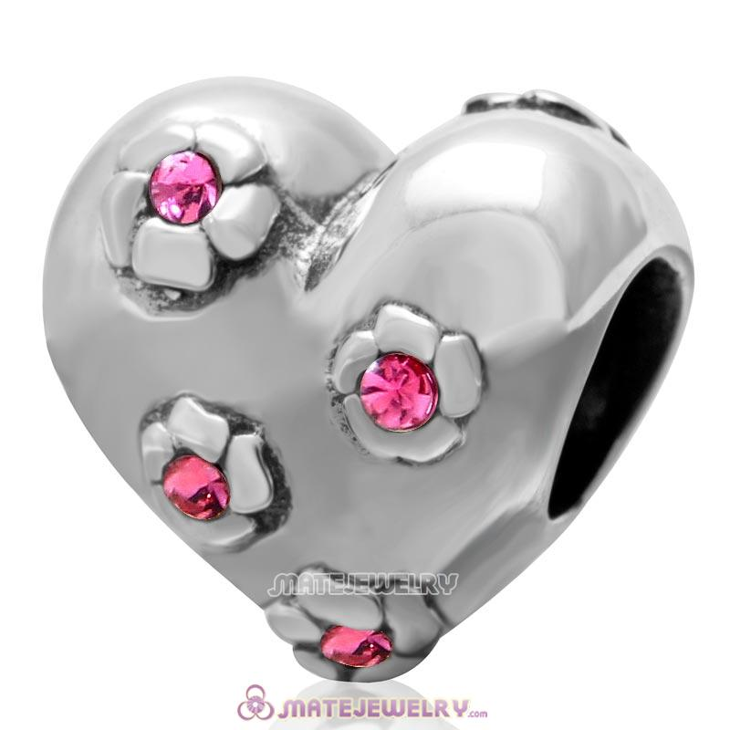 925 Sterling Silver Sweet Heart Bead with Rose Crysta