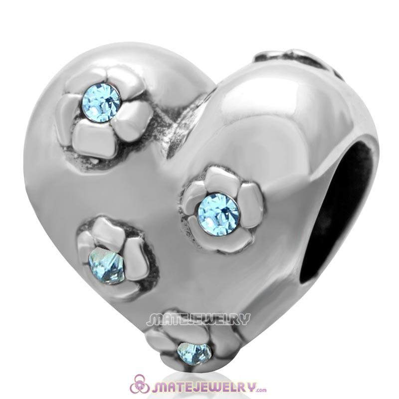 925 Sterling Silver Sweet Heart Bead with Aquamarine Crysta