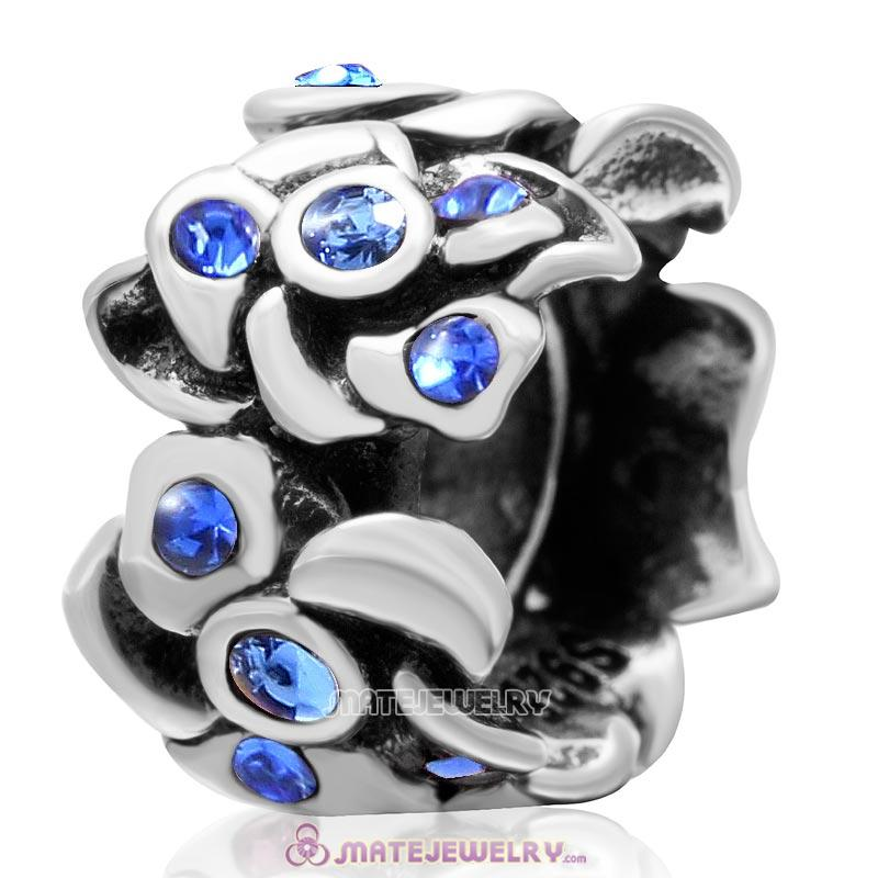 Poppy Flower Spacer Charm 925 Sterling Silver Bead with Sapphire Crystal