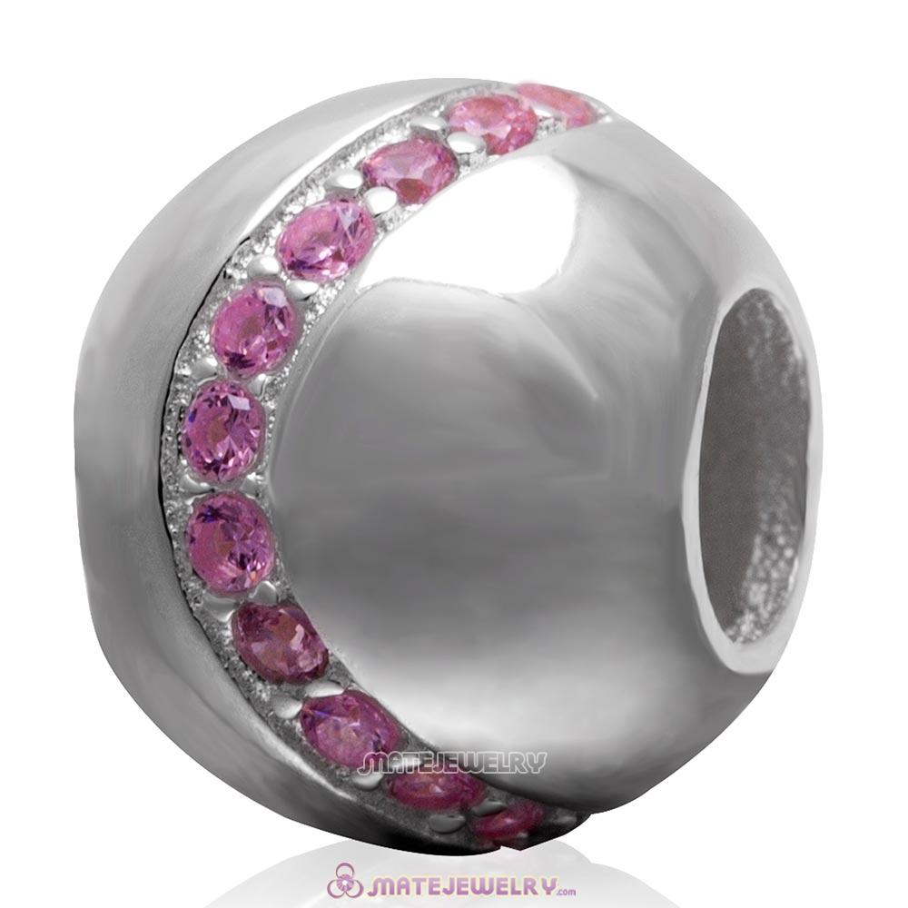 Pink Cz 925 Sterling Silver Ball Bead