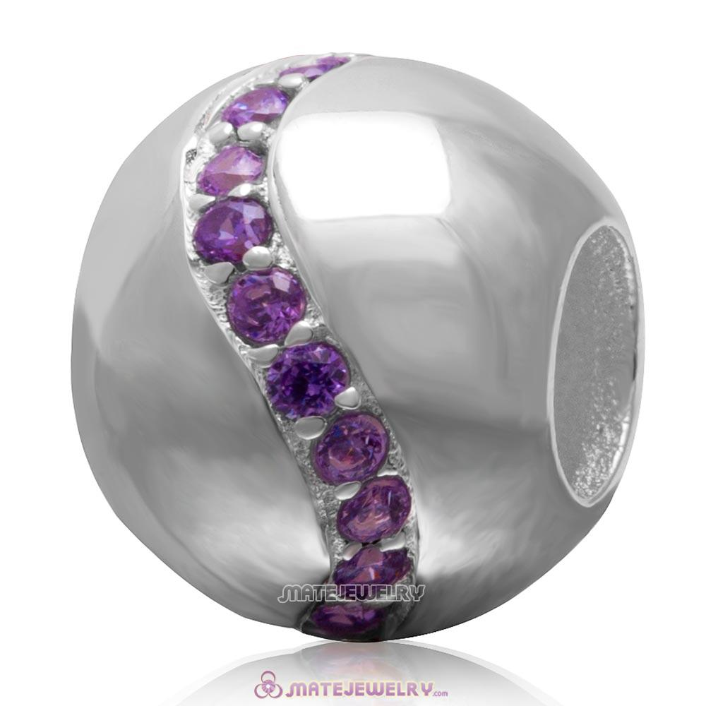 Purple Cz 925 Sterling Silver Ball Bead