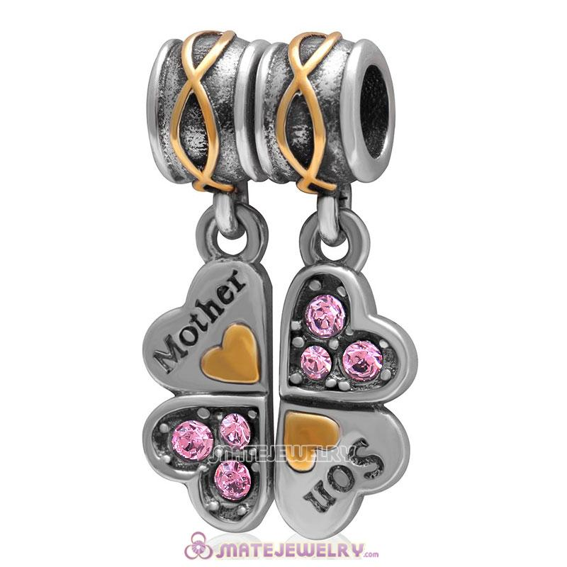 1 Pair Mother Son Clover Charm Sterling Silver with Lt Rose Austrian Crystal