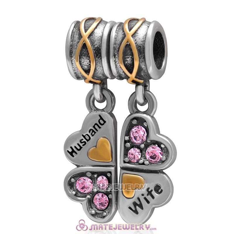 1 Pair Wife Husband Clover Charm Sterling Silver with Lt Rose Austrian Crystal
