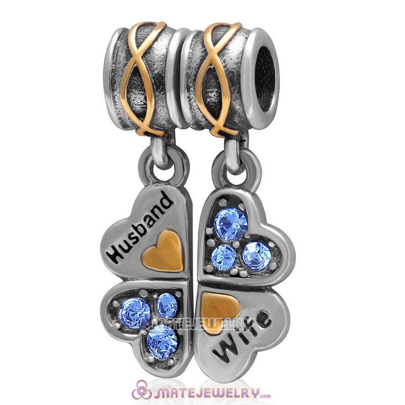 1 Pair Wife Husband Clover Charm Sterling Silver with Sapphire Austrian Crystal