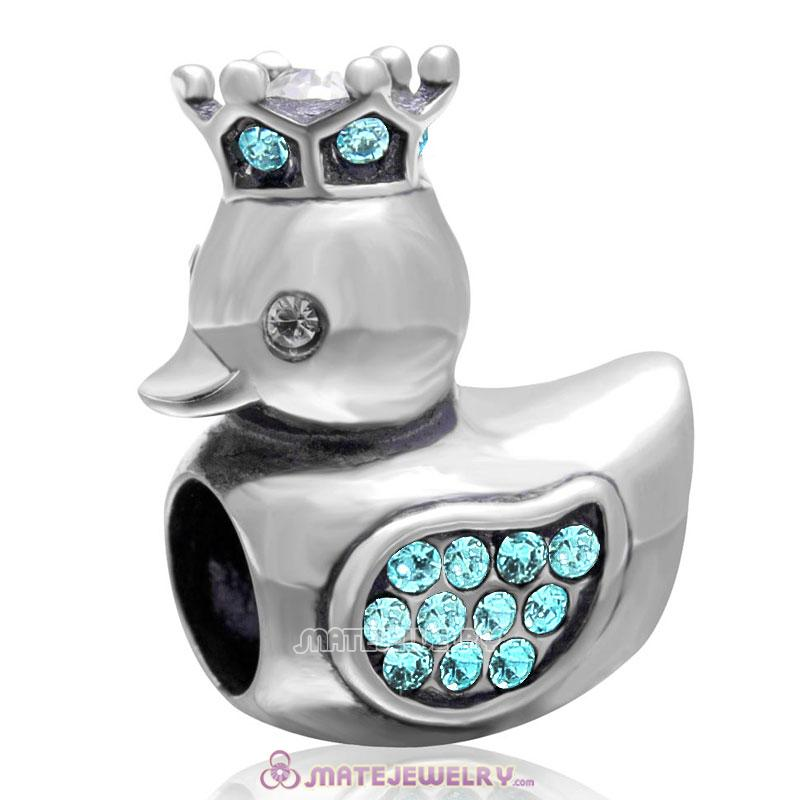 Pleasing Duck with Crown 925 Sterling Silver with Aquamarine Crystal Charm Bead