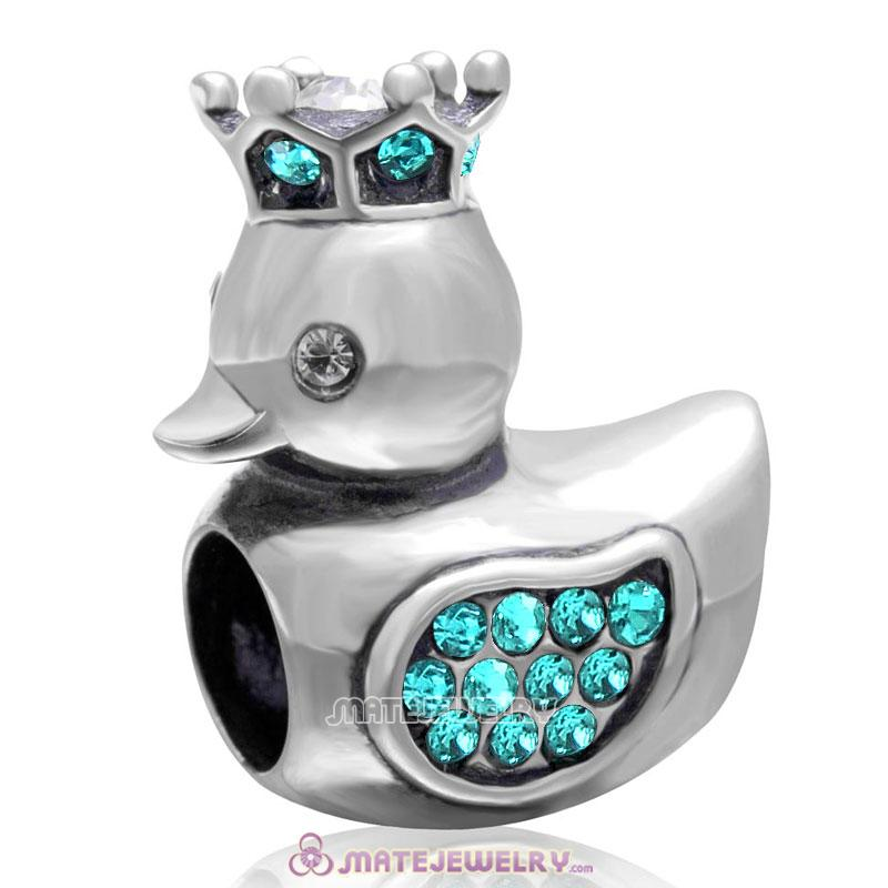 Pleasing Duck with Crown 925 Sterling Silver with Blue Zircon Crystal Charm Bead