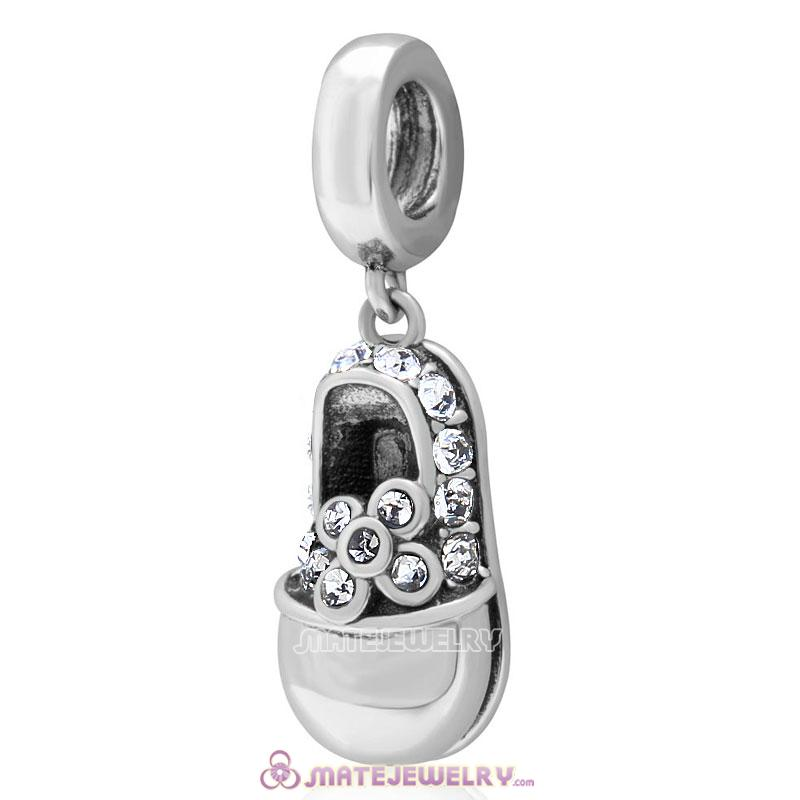 Baby Shoe Dangle 925 Sterling Silver Charm with Clear Crystal