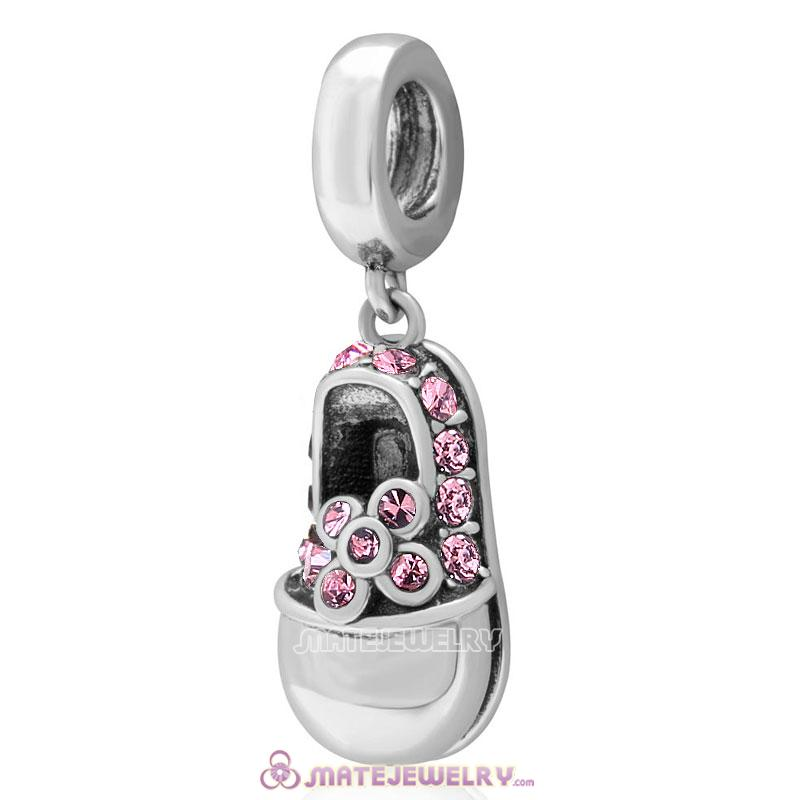 Baby Shoe Dangle 925 Sterling Silver Charm with Lt Rose Crystal