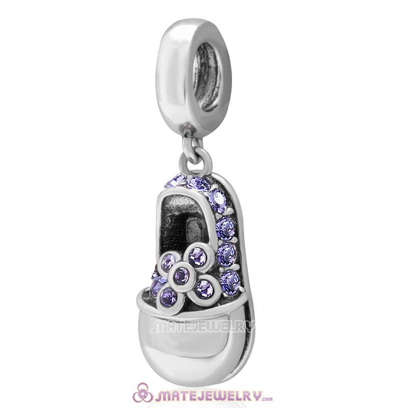 Baby Shoe Dangle 925 Sterling Silver Charm with Tanzanite Crystal