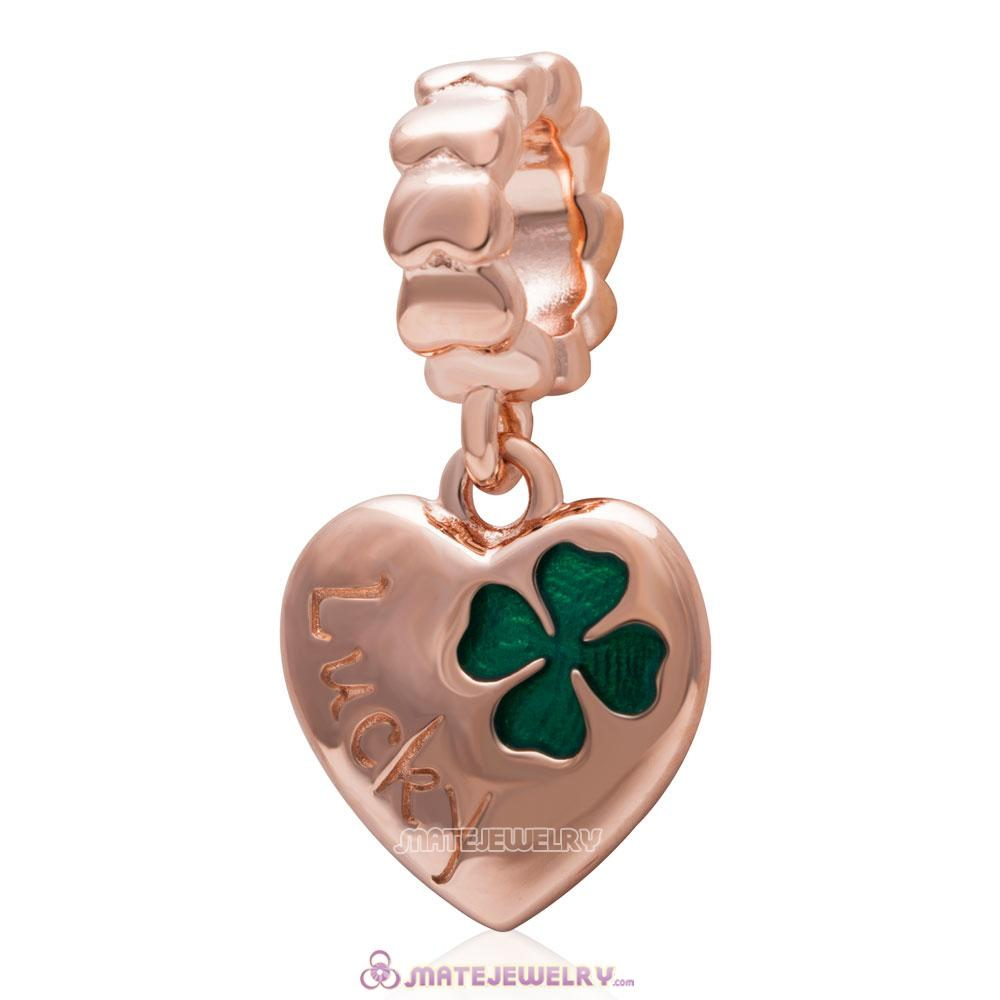 925 Sterling Silver Lucky Clover Heart Dangle Bead with Rose Gold
