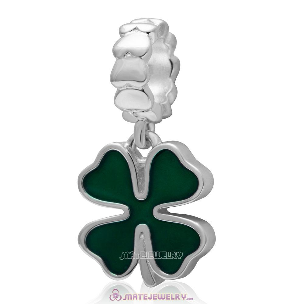 925 Sterling Silver Green Lucky Clover Dangle Bead