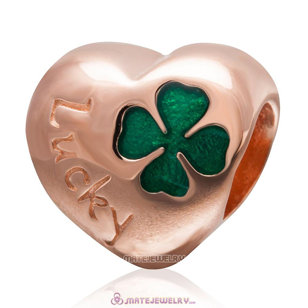 925 Sterling Silver Green Lucky Clover Rose Gold Heart Bead