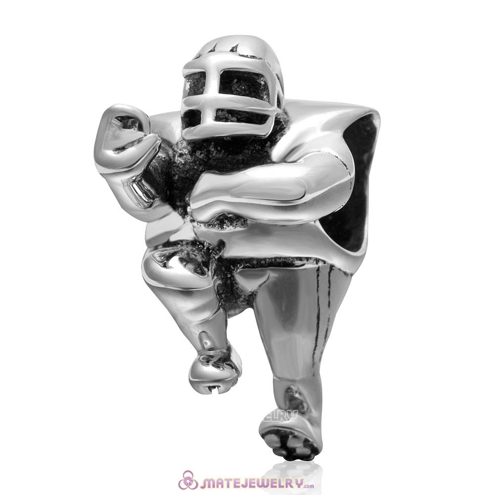 Rugby Player Sport Charm Bead in 925 Sterling Silver