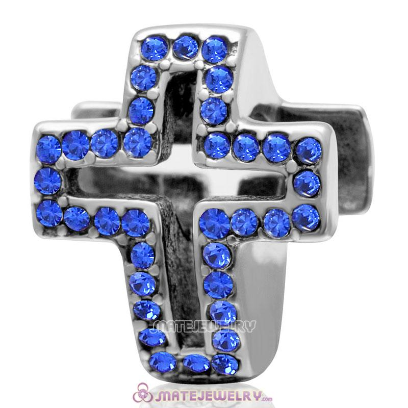 Spackly Christian Cross Charm 925 Sterling Silver with Sapphire Crystal